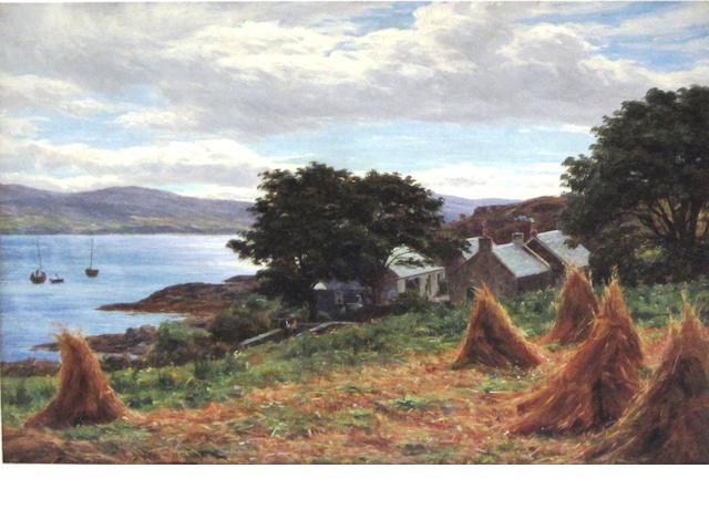 b John James Bannatyne, RSW (British, 1836-1911) The Village from the Cornfield