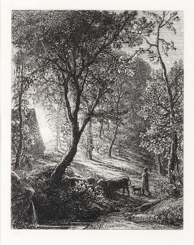 Samuel Palmer (British, 1805-1881) The Herdsman's Cottage, or Sunset Etching, 1850, the second final state, with Palmer's etched initials in the lower left margin, as published in 'The Portfolio', 1872, with wide margins, on laid, 124 x 100mm (4 7/8 x 4in)(PL)
