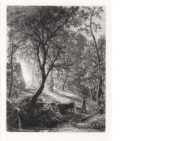 Samuel Palmer (British, 1805-1881) The Herdsman's Cottage or Sunset Etching, 1850, the second final state, with the etched initials SP lower left, on thick laid, 124 x 100mm (4 7/8 x 4in)(PL)