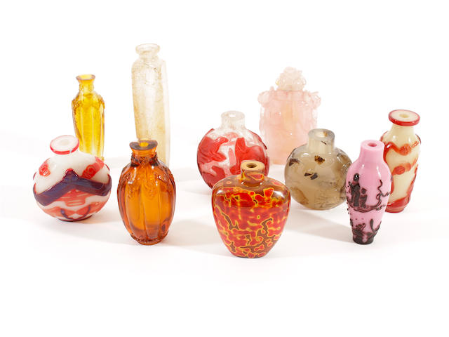 A group of ten Chinese snuff bottles