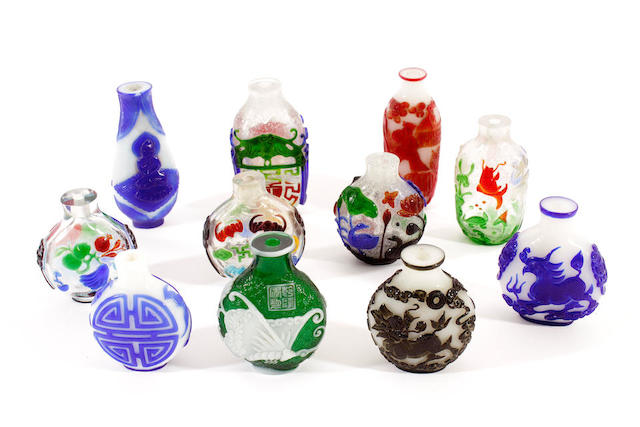 Ten Bejing overlaid glass snuff bottles,