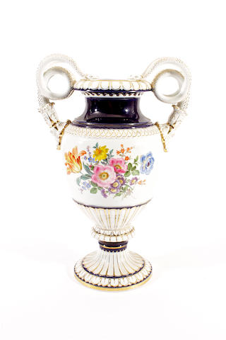 A large Meissen twin-handled vase, late 20th Century