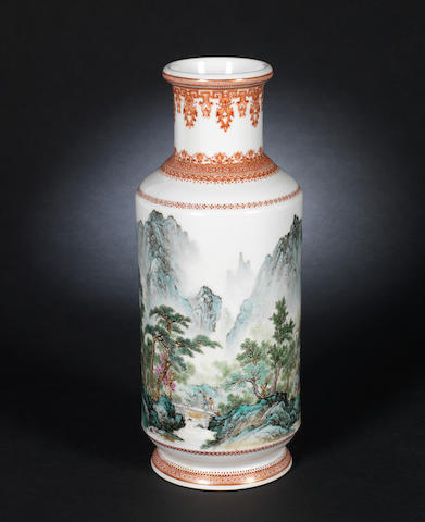 A famille rose cylindrical vase Qianlong seal mark, 20th century