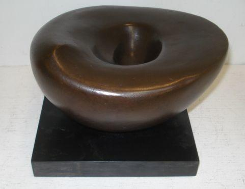 Sally Olvarlon ?, 20th Century - Rounded form, inscribed with signature, stamped with foundry mark, bronze, on a plinth,12cm.