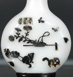 An inscribed black overlay glass 'cats and butterfly' snuff bottle Attributed to Li Junting, Yangzhou, Qing dynasty, 1800-1840