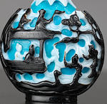 A double-overlay glass 'Legend of the White Snake' snuff bottle Qing dynasty, 1780-1820