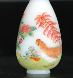 An enamelled on glass 'chicken and birds' snuff bottle