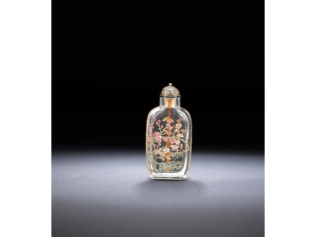 A 'famille-rose' enamelled glass 'three friends' snuff bottle Qianlong blue-enamelled three-character seal mark and of the period, 1768-1775