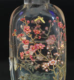 A 'famille-rose' enamelled glass 'three friends' snuff bottle Qianlong blue-enamelled three-character seal mark, 1768-1775