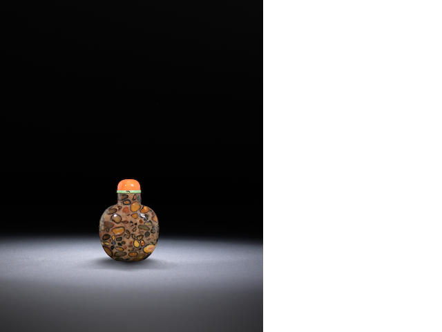 A pudding stone snuff bottle Qing dynasty, 1740–1900