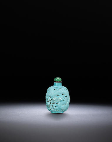 A turquoise porcelain reticulated 'dragon' snuff bottle Attributable to Wang Bingrong, Jingdezhen, 1820-1860