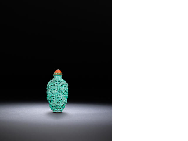 A turquoise-glazed porcelain 'dragon and phoenix' snuff bottle Imperial kilns, Jingdezhen, 1796-1820