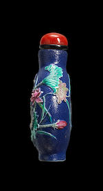 A moulded and enamelled porcelain 'lotus blossoms' snuff bottles
