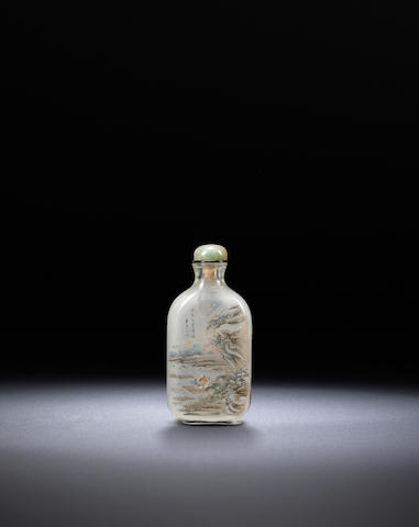 An inside-painted rock-crystal 'figure in landscape' snuff bottle Bi Rongjiu