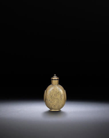 An engraved bronze 'dragon' snuff bottle Late Qing/ early Republican  period, 1830-1920