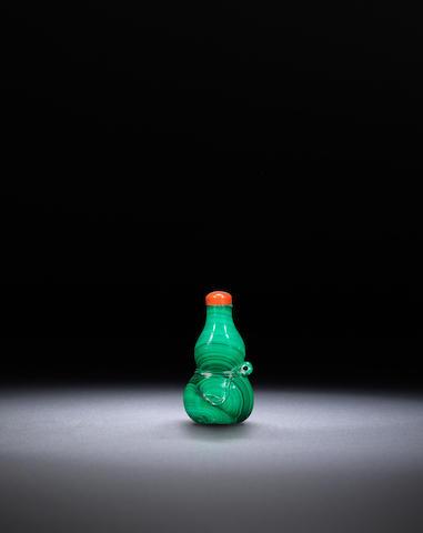 A malachite 'double gourd' snuff bottle