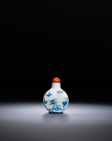 An inscribed blue overlay glass 'insects and birds' snuff bottle Attributed to Yangzhou, circa 1870-1890