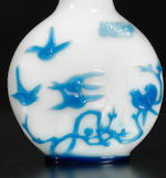 An inscribed blue overlay glass 'insects and birds' snuff bottle Attributed to Li Junting, Yangzhou, 1800-1840