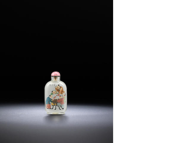 An inside-painted glass 'hundred boys' snuff bottle Ma Shaoxian, dated 1935