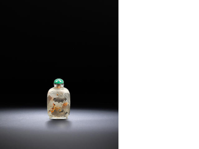 An inside-painted glass 'ducks and aquatic plants' snuff bottle Yan Yutian, dated 1918