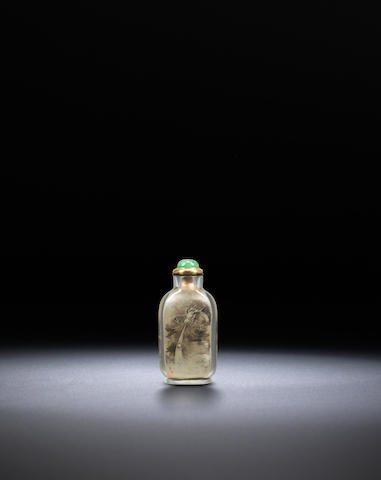 An inside-painted rock-crystal 'Buddhist lion and dragon' snuff bottle Ding Erzhong, dated 1902