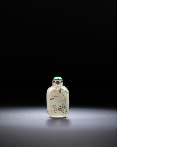 An inside-painted glass 'birds and sampan' snuff bottle Ding Erzhong, dated 1898