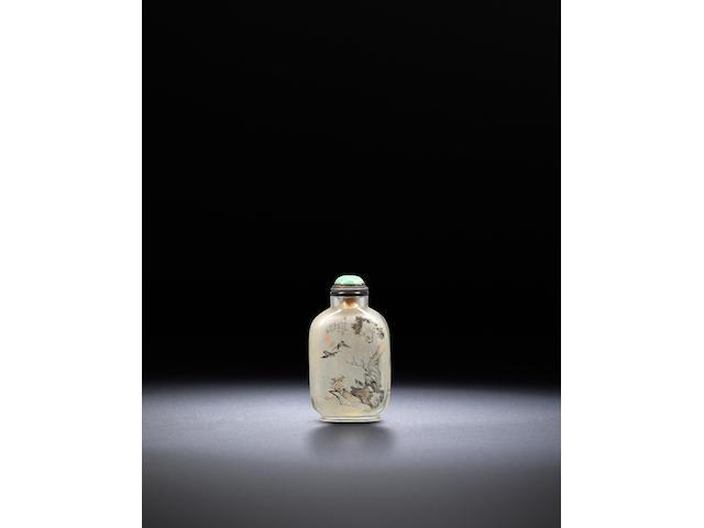An inside-painted glass 'birds and sampan' snuff bottle Ding Erzhong, dated 1898