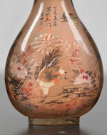 A carved and inside-painted rock-crystal 'birds and flowers' snuff bottle Ye Zhongsan, dated 1907