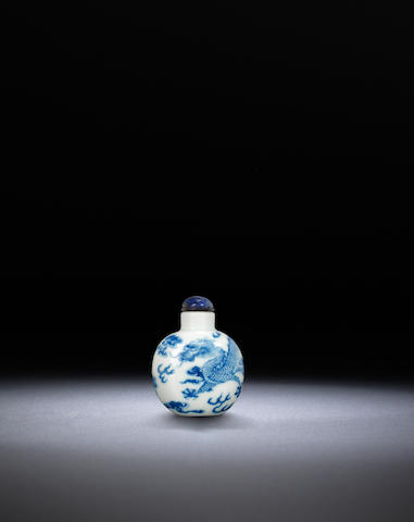 A blue and white porcelain 'dragon' snuff bottle Daoguang underglaze-blue four-character seal mark and of the period