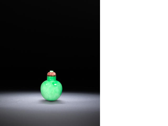 An apple green jadeite snuff bottle