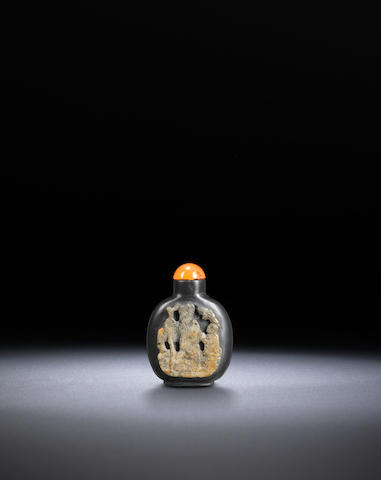A burnt limestone snuff bottle