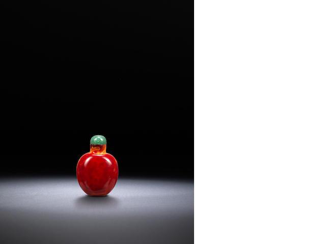 A 'realgar' glass snuff bottle Qing dynasty, 1700-1820