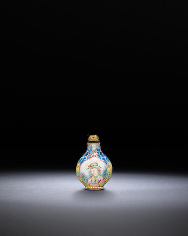An enamel on copper 'European subject' snuff bottle Guangzhou, Qing dynasty, Qianlong black-enamelled four-character mark