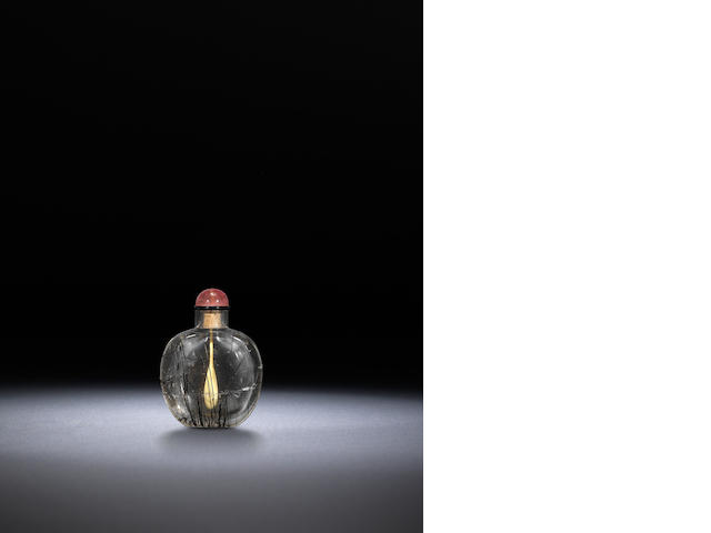 A rock-crystal 'hair' snuff bottle Qing dynasty, 1730-1870