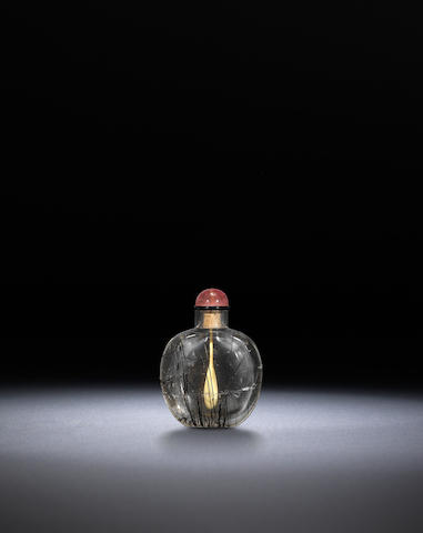 A rock-crystal 'hair' snuff bottle Qing dynasty, 1730-1870