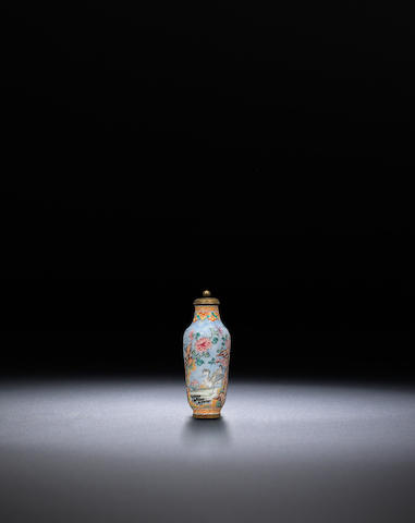 A Canton-enamel copper 'birds and plants' snuff bottle