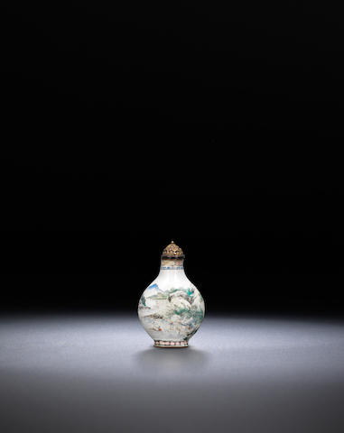 An enamel on copper 'figures in landscape' snuff bottle Guangzhou, Qing dynasty, Qianlong black-enamelled four-character mark