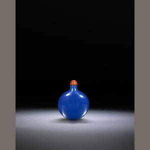 A blue glass 'flask' snuff bottle Qing dynasty, 1750-1850