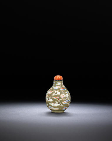 A 'famille-rose' porcelain 'cranes' snuff bottle 1821-1850, Imperial kilns, Jingdezhen, Daoguang iron-red four-character seal mark and of the period