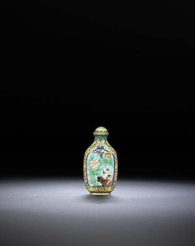 A gilt-bronze and cloisonné-enamelled 'cat and butterfly' snuff bottle Qianlong four-character incised mark, Qing dynasty