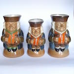 Harry Simeon for Doulton Lambeth Three Standing Man Toby Jugs, circa 1925