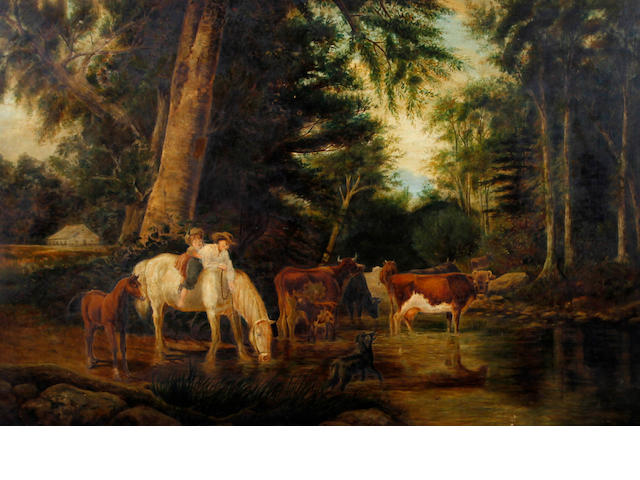 J. Garner (19th Century) Children out riding in a wooded landscape