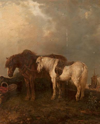 Edward Robert Smythe (British, 1810-1899) Horses by the coast