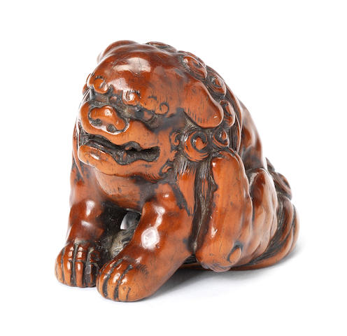 A large boxwood netsuke of a shishi By Tomochika, early 19th century