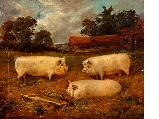 E. S. England (British, 19th/20th century) Three pigs before a landscape