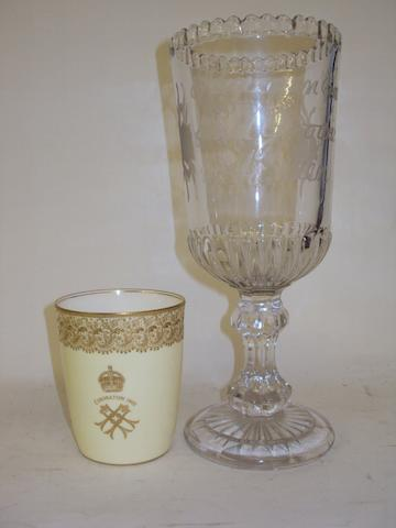 A Royal Doulton 1902 Coronation beaker, and a 'Peace On Earth' celery glass