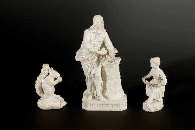 A Derby biscuit figure of Milton, a Minton model of a squirrel and a George Cocker figure of a girl