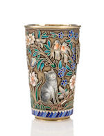 Silver gilt and enamel presentation beaker, by Pavel Ovchinnikov Firm, c. 1897