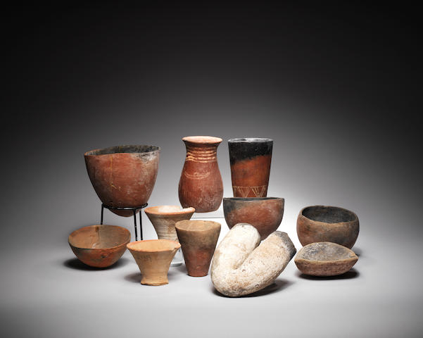 Eleven Egyptian Predynastic pottery vessels 11