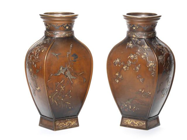 A pair of inlaid large bronze vases By Miyabe Atsuyoshi, Meiji Period